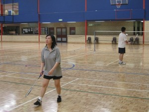 First badminton group game