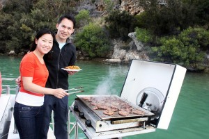 Joyce and Tee Young enjoying the barbeque on board the cruise boat