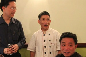 Secretary-General Jonas Yong with the owner of the restaurant and HakkaWA member Mr Chai (Ah Wing) and Mr Wu Ping Ming