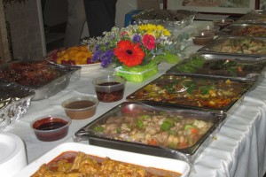 Roasts and other food laid out on the table