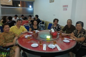 Second table. Some of the tour group members and some of their guests in Kota Kinabalu