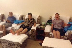 James, Anita and Mary enjoying foot massage after a long day's search for ancestral homes at Chuanheng in Longchuan