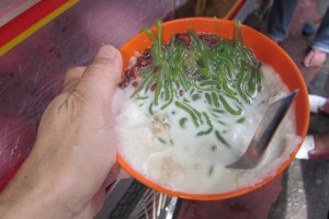 This is the famous cendol! Not much to look at, but heaven to taste!