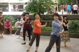 Dancing in the park in Guangzhou, with the locals