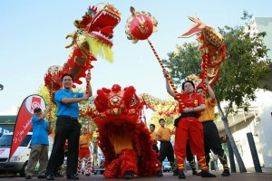 Chong Fah and Keith with the dragon and lion dance troupe